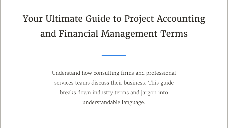 Project Account and Financial Managment Terms